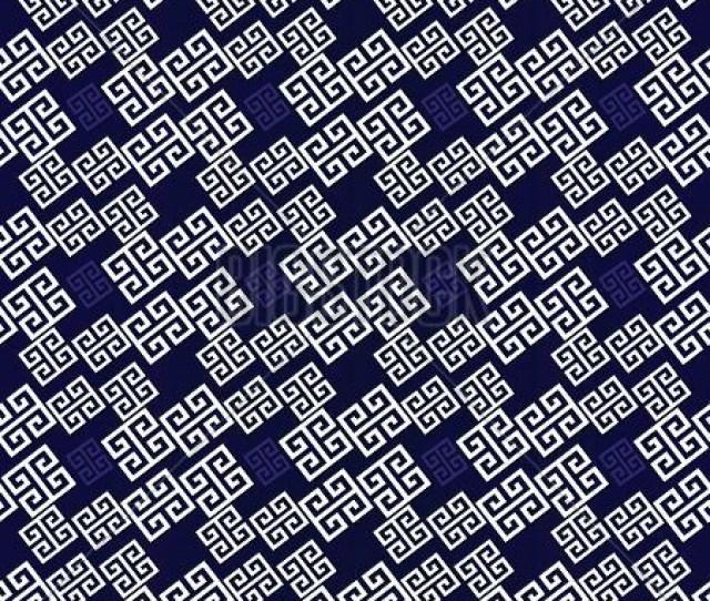 Geometric Meander Greek Seamless Pattern Blue Geometry Background Wallpaper Illustration With White