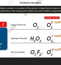 oxidation numbers infographic diagram with example of oxygen atom showing different numbers of electric charge in [ 1500 x 1041 Pixel ]
