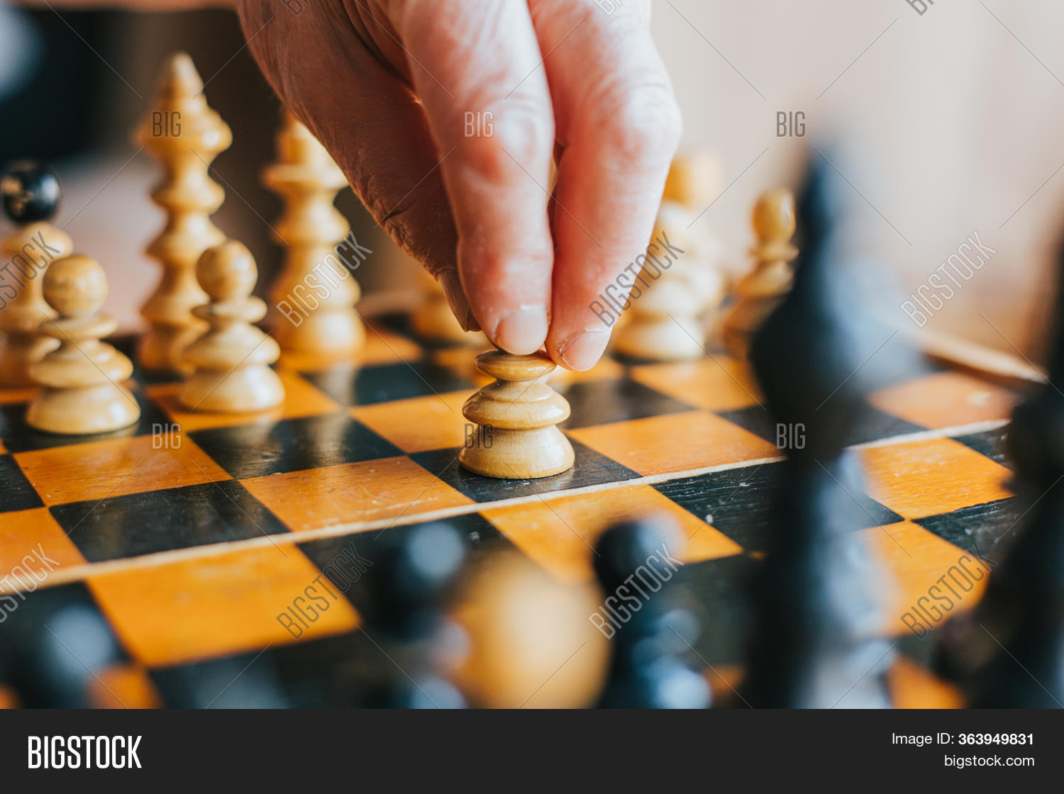 Hand Moving Pawn Piece Image & Photo (Free Trial) | Bigstock