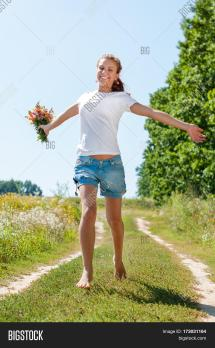 Pretty Young Woman Bouquet Wild & Bigstock
