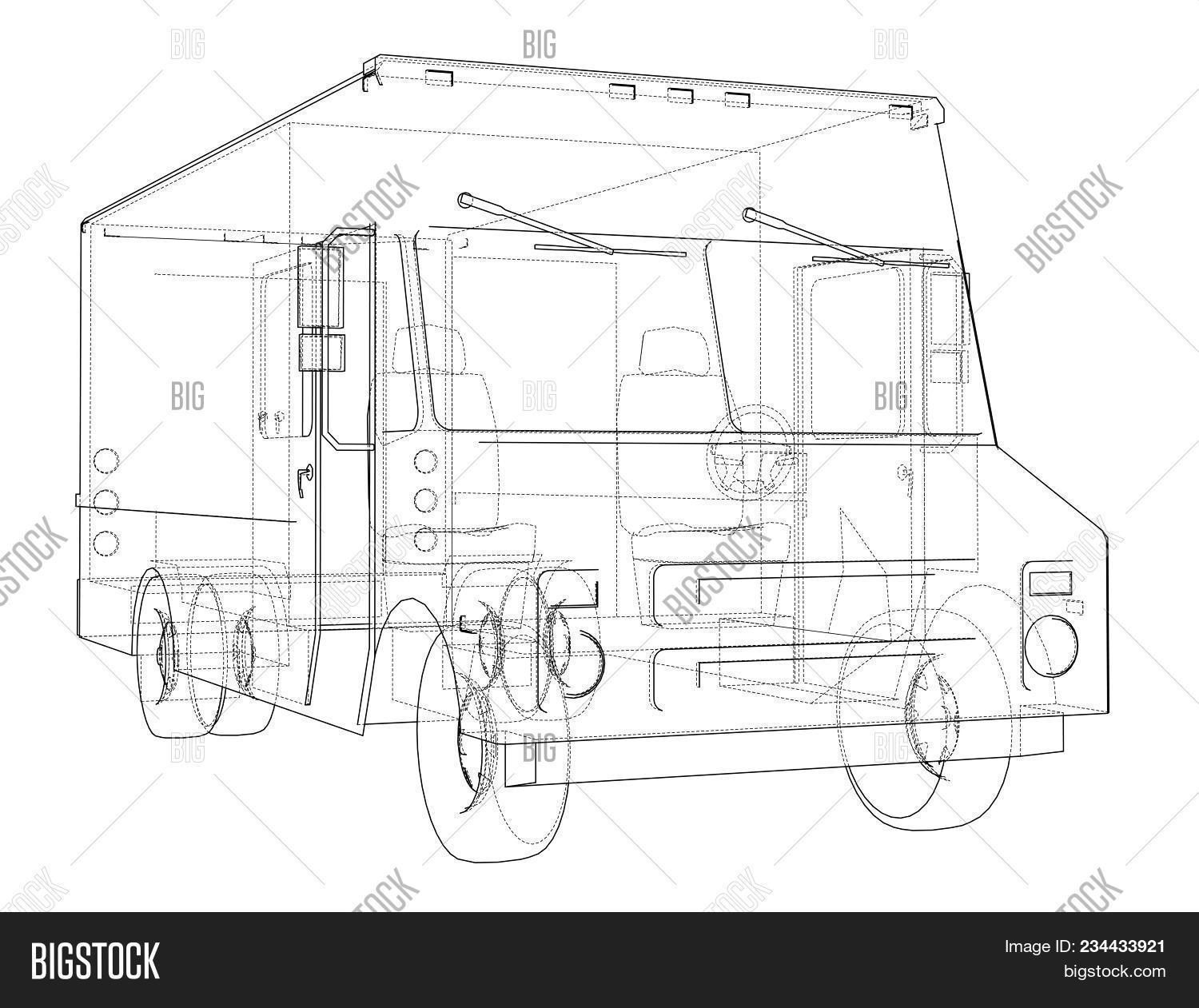 hight resolution of concept delivery car 3d illustration wire frame style