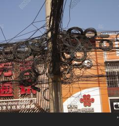 messy tangle of electric and telephone wires on street pole shanghai china december [ 1500 x 1120 Pixel ]