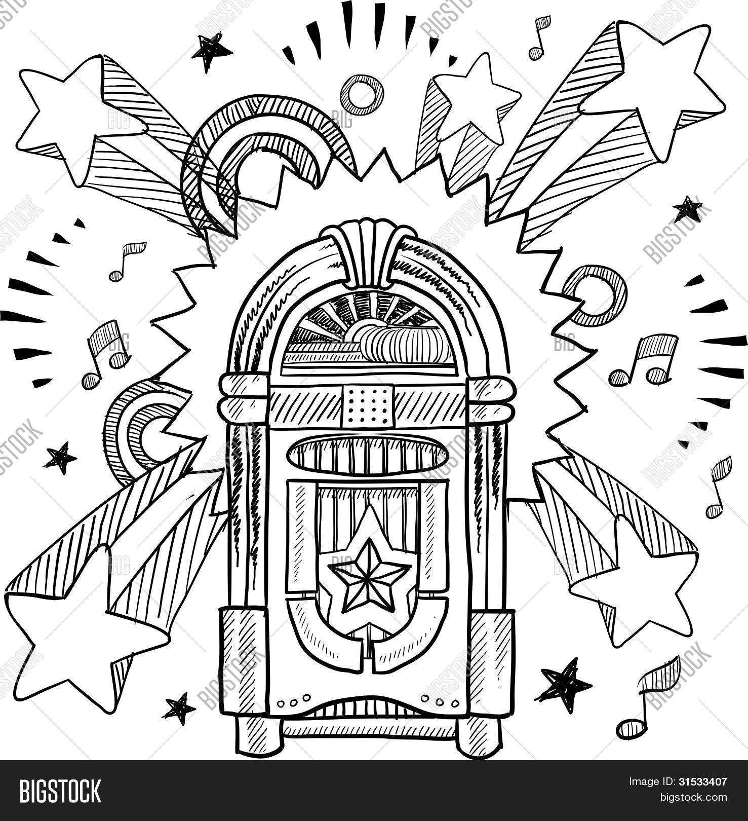 Jukebox Sketch Vector Amp Photo Free Trial