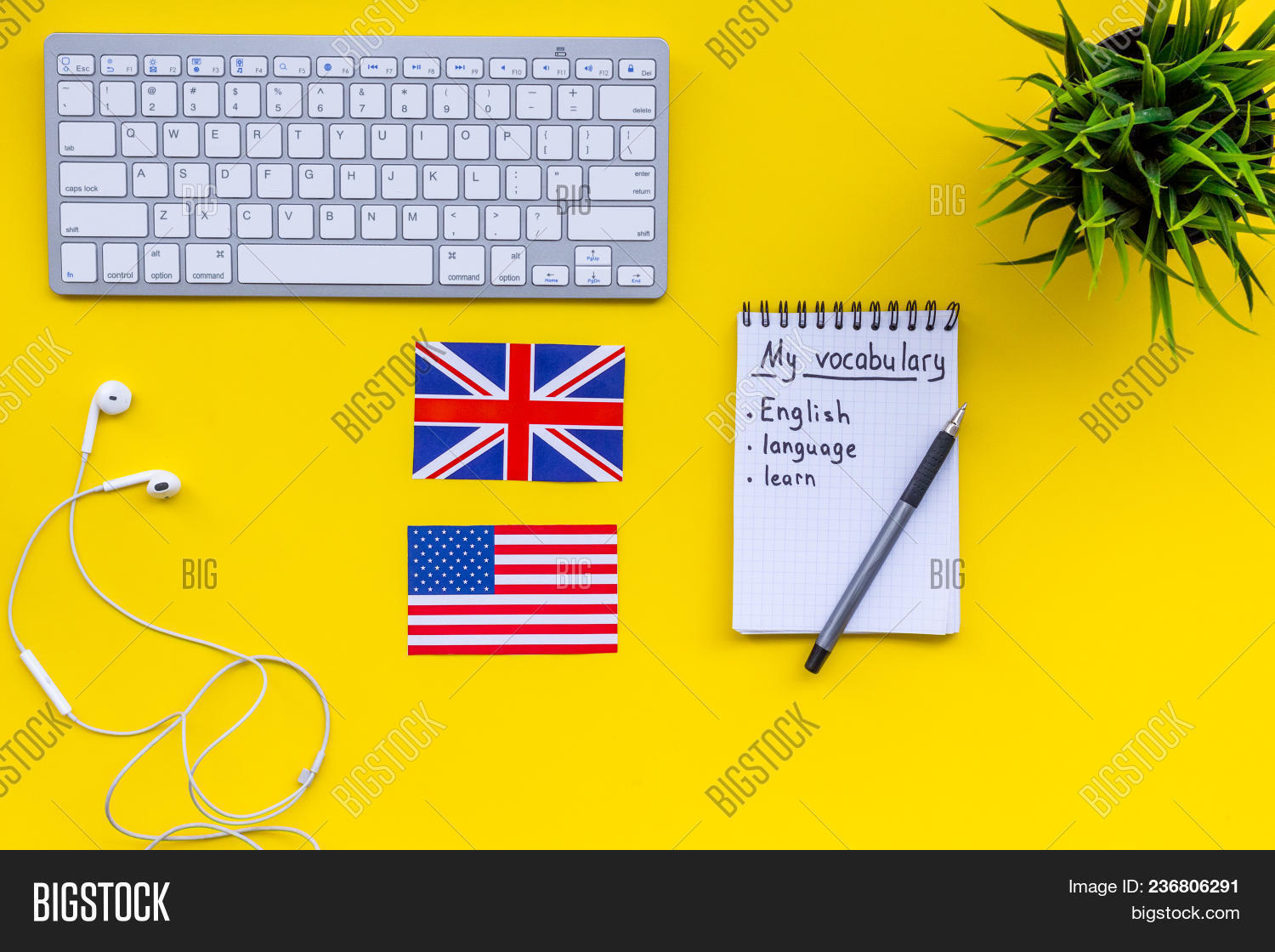 hight resolution of learn new english vocabulary learn landuage concept computer keyboard british and american flags