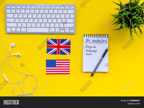 small resolution of learn new english vocabulary learn landuage concept computer keyboard british and american flags