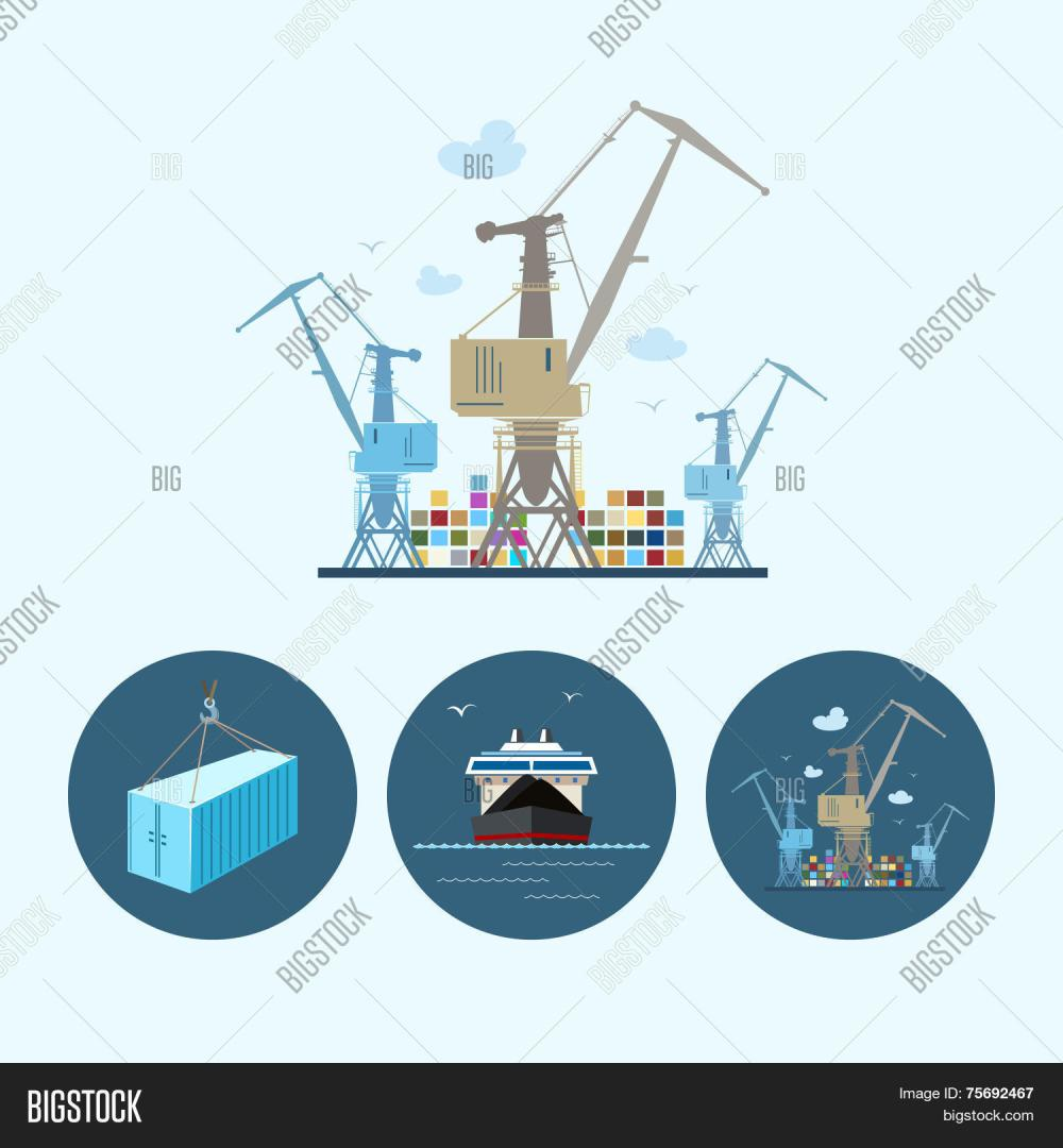 medium resolution of crane unloads containers from cargo container ship set with 3 round colorful icons dry cargo ship crane unloads containers from cargo container ship and
