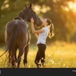 Young Woman Her Horse Image Photo Free Trial Bigstock