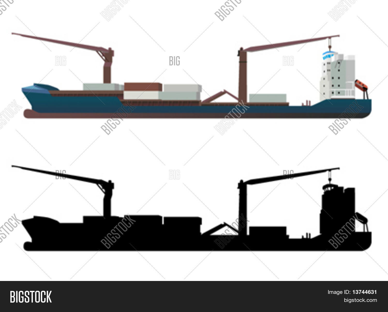 hight resolution of container ship vector