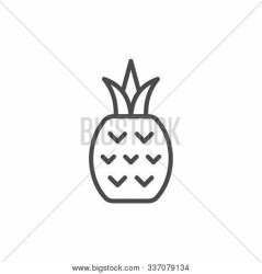 Pineapple Line Vector & Photo Free Trial Bigstock