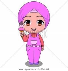 Chibi Muslim Female Vector & Photo Free Trial Bigstock