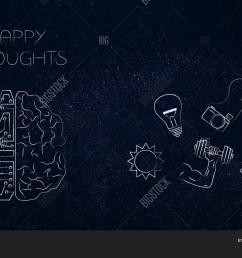 positive and negative attitude conceptual illustration circuit and human brain with happy thoughts [ 1500 x 1120 Pixel ]