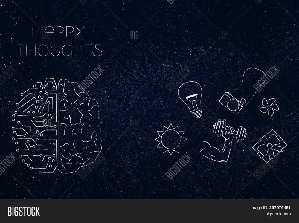 medium resolution of positive and negative attitude conceptual illustration circuit and human brain with happy thoughts