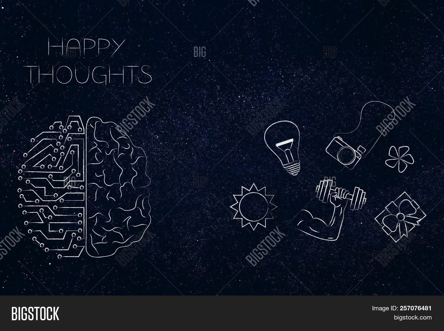 hight resolution of positive and negative attitude conceptual illustration circuit and human brain with happy thoughts