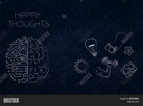 small resolution of positive and negative attitude conceptual illustration circuit and human brain with happy thoughts