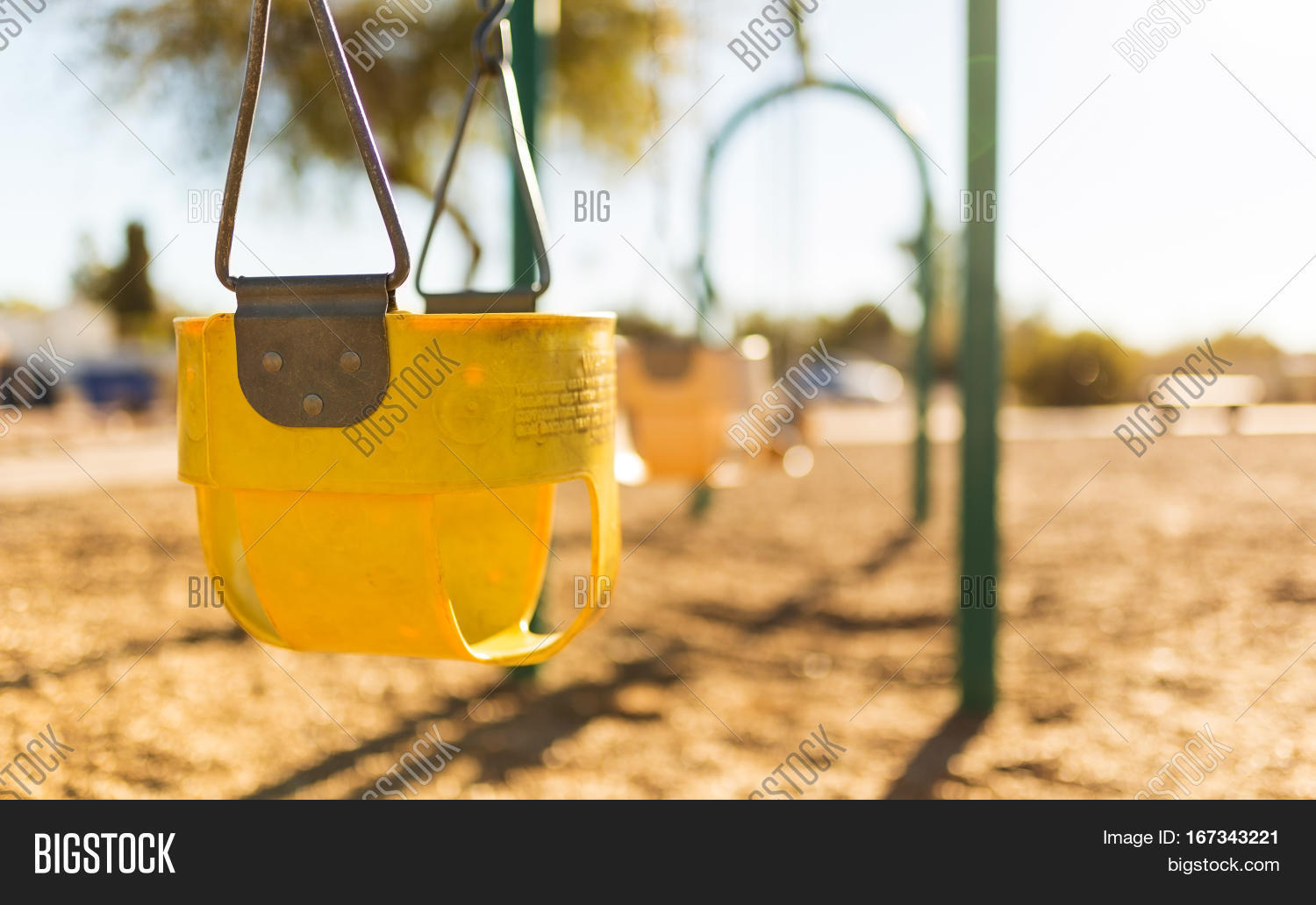 hight resolution of play park toddler swings in a row depth of field view and close up of