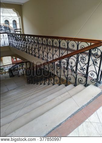 Old Stairs Wrought Image Photo Free Trial Bigstock   Rod Iron Railing For Steps   Artistic   Aluminum   Front Porch   Custom   Corner