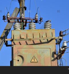 old and obsolete electrical transformer against the background of a cloudless blue sky device for [ 1500 x 1114 Pixel ]