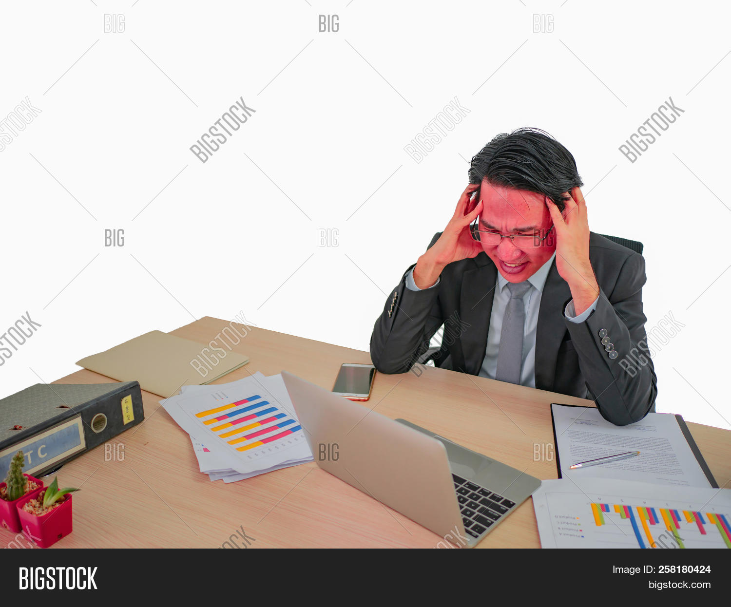 hight resolution of hot head business man very angry sitting on his desk on isolated background