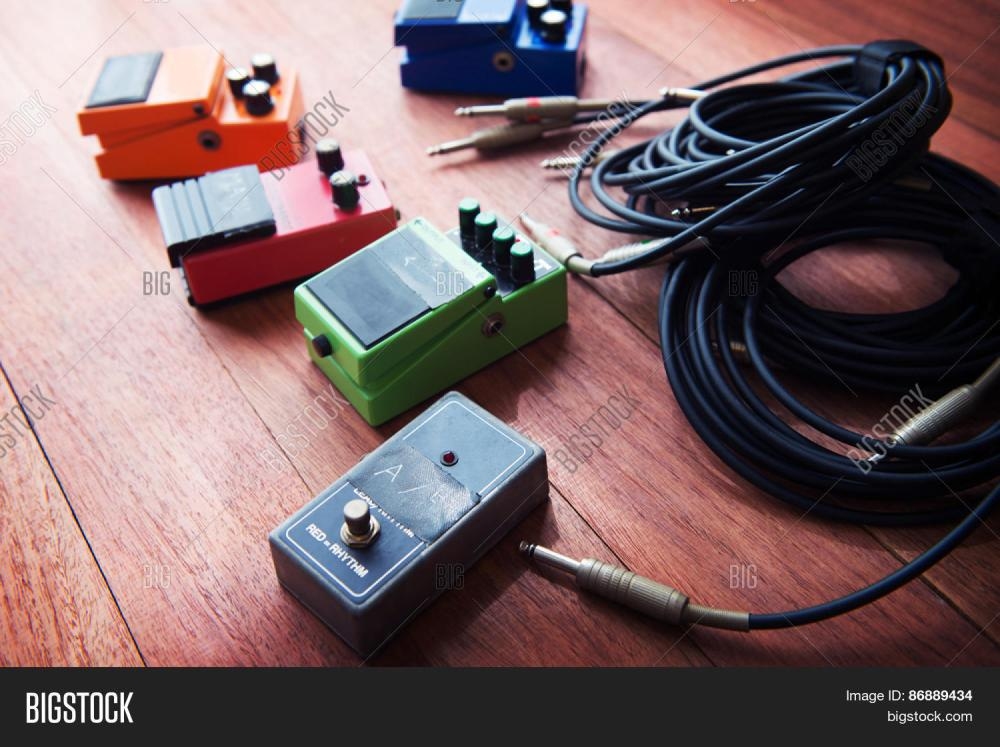 medium resolution of setting up guitar audio processing effects electric guitar stomp box effectors and cables on studio create a lightbox