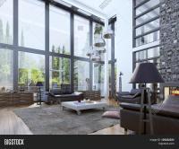 Two-storey Modern Living Room Image & Photo | Bigstock