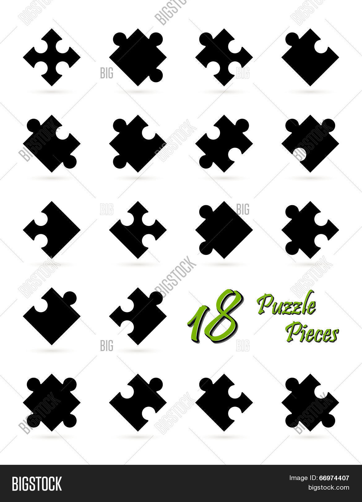 All 18 Puzzle Pieces Vector & Photo (Free Trial) | Bigstock