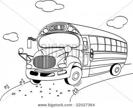 Página para colorir de um ônibus escolar Bancos de Vetores