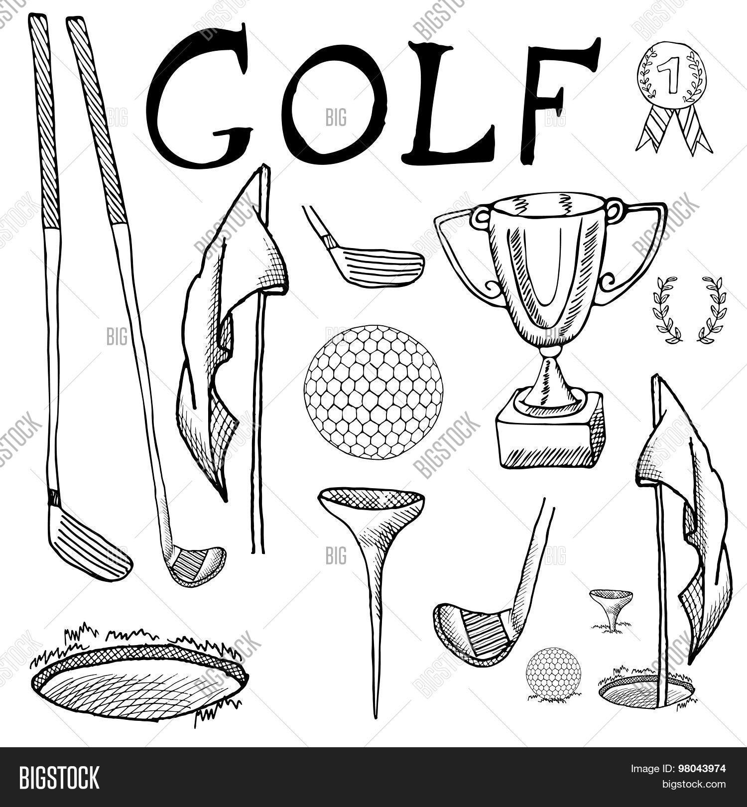 Golf Sport Hand Drawn Sketch Set Vector Amp Photo