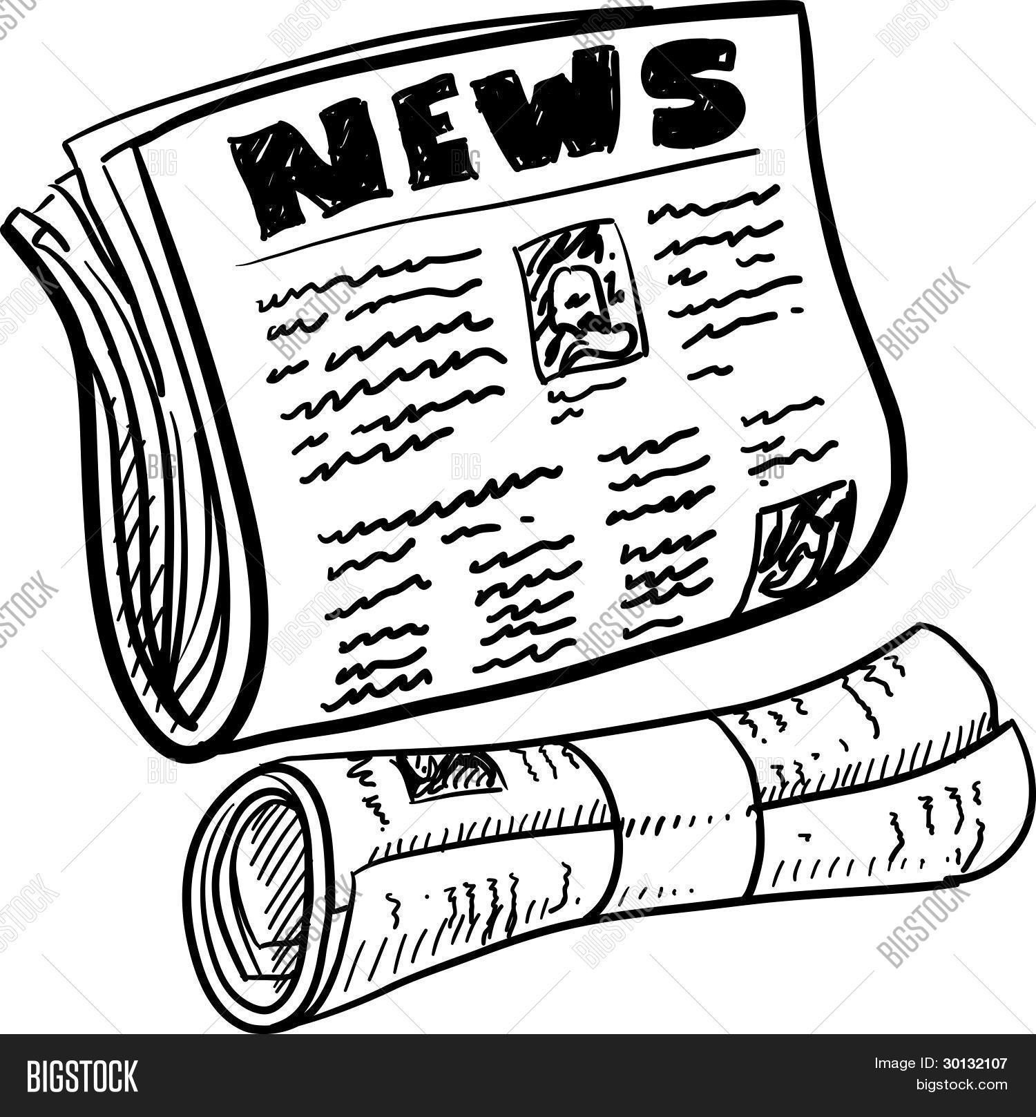 Newspaper Sketch Vector Amp Photo