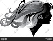 silhouette girl windblown long