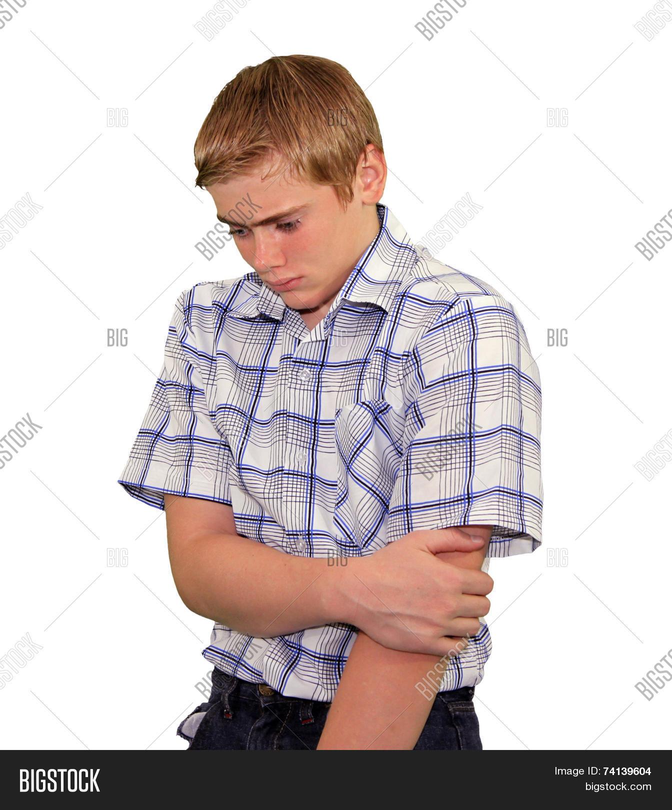 Teen Boy Body Language - Shy Timid Image & Photo   Bigstock