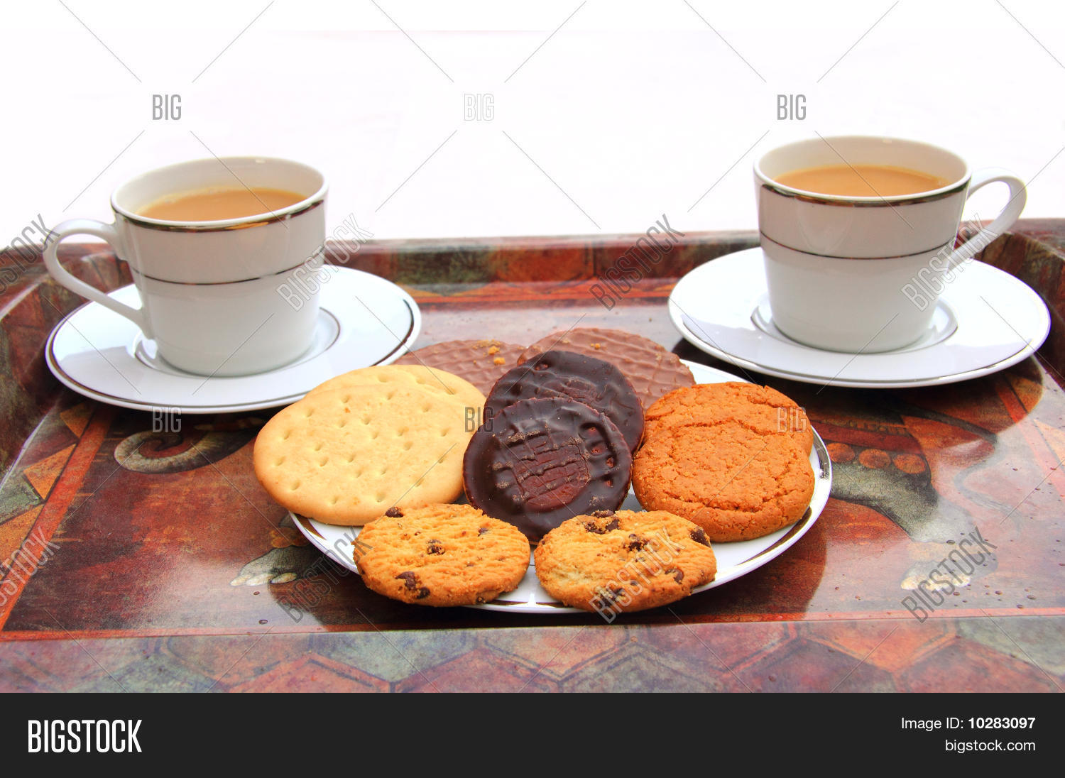 Two Cups of Tea with Biscuits Stock Photo & Stock Images