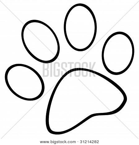 Picture or Photo of Illustration Of Outlined Paw Print