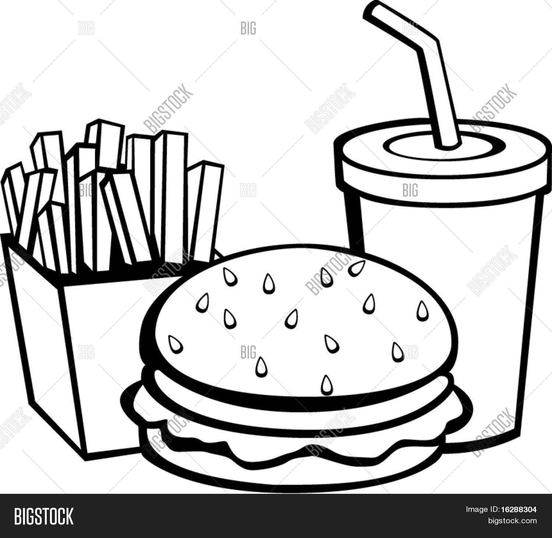 Burger Fries Beverage Vector Amp Photo