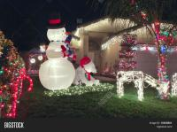 Front Yard Christmas Decorations Stock Photo & Stock ...