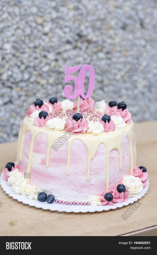 Birthday Cake 50 Years Old Homemade Year Bigstock
