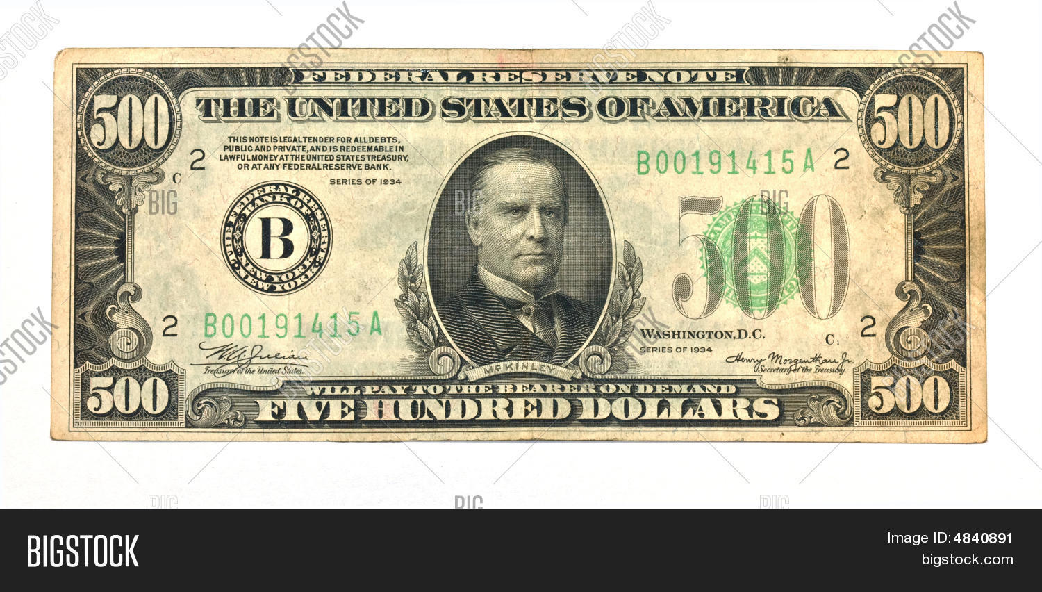 Old Five Hundred Dollar Bill Stock Photo Amp Stock Images