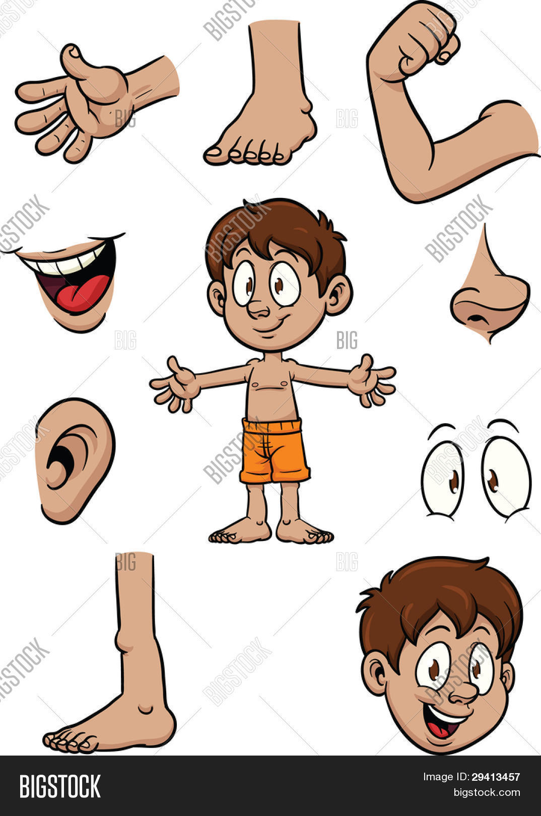 Cartoon Kid And Body Parts Vector Illustration With