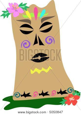 Stock vector : Polynesian Tiki Statue With Shark Tattoos