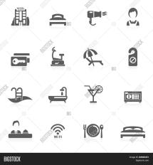 Hotel Icon Black Vector & Bigstock