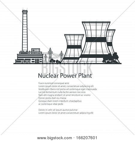 Silhouette Thermal Power Station and down Text , Nuclear