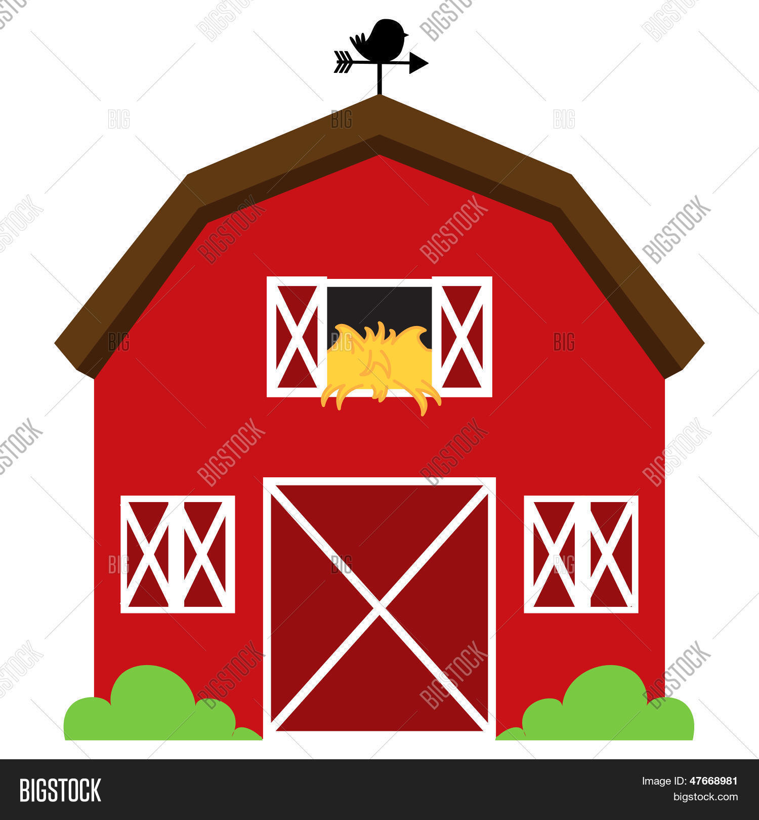 Cute Red Vector Barn Hay Weather Vector Amp Photo