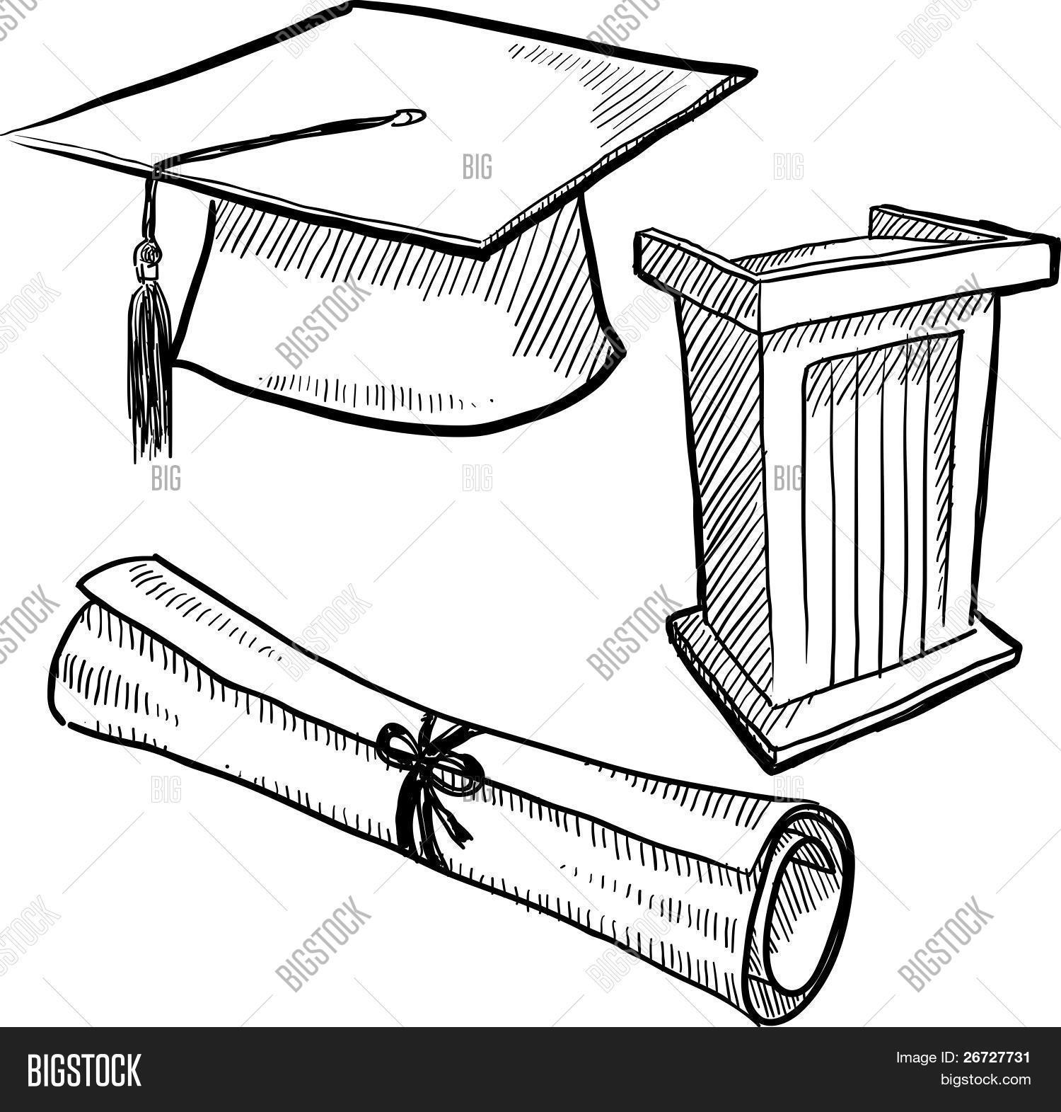 Desenho de objetos de graduação Bancos de Vetores & Bancos