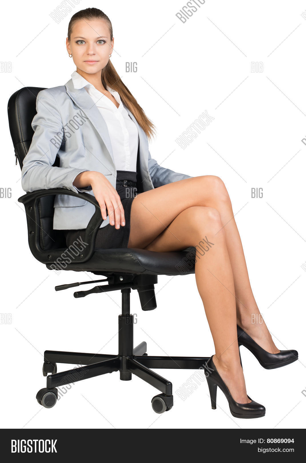 desk chair legs rimworld vs stool businesswoman office straight image and photo bigstock