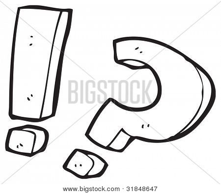 cartoon question mark and exclamation mark Stock Photo