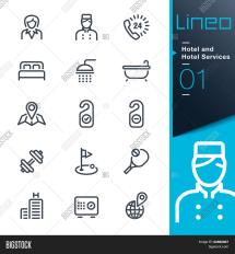 Lineo - Hotel And Services Outline Icons Stock