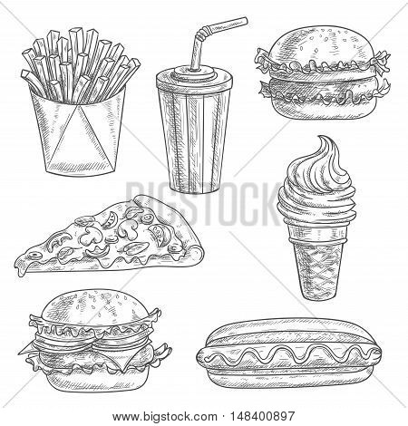 Fast food pencil sketch snacks, desserts, drinks. Isolated