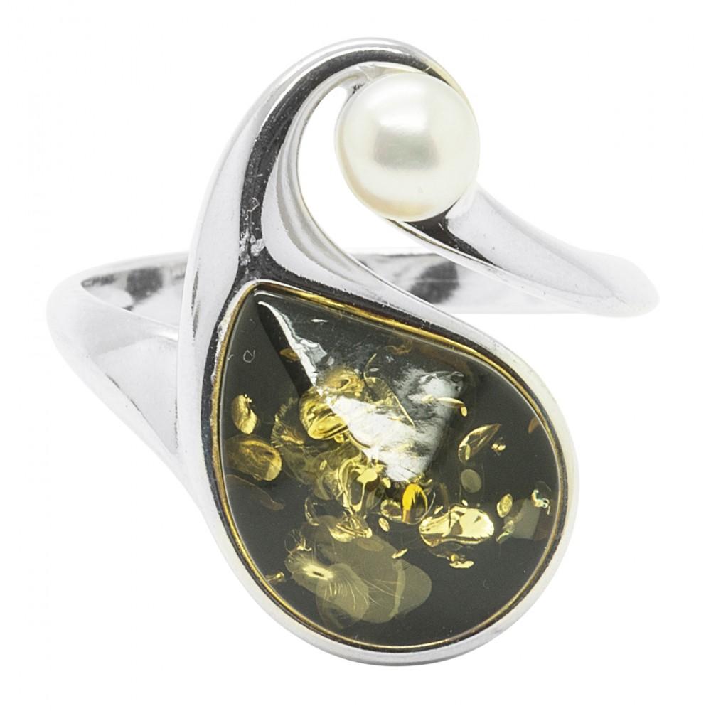 Grn Bernstein Ring und Silber mit einer Perle  Bijoux d