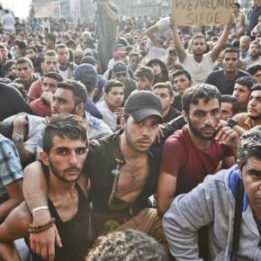Imigranci na dworcu w Budapeszcie