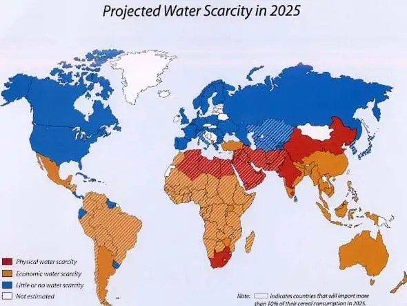 By 2025, two-thirds of the world will live under conditions of water scarcity.