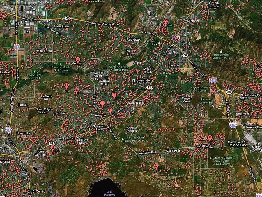 Riverside, Calif. -- 1 of 14 homes in foreclosure